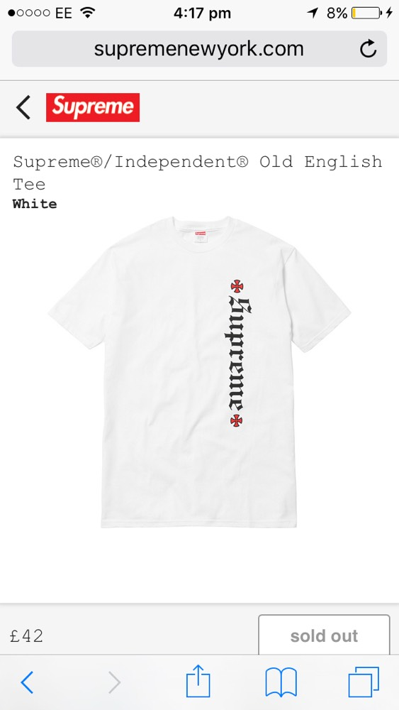 e710afa5f23f Cheap Supreme x Independent T shirt for sale . Paperclip