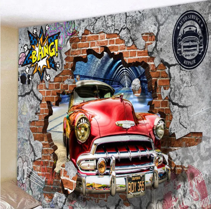 Fabric Wall Tapestry/Throw 3D Car 78 x 70 Inches Free P+P