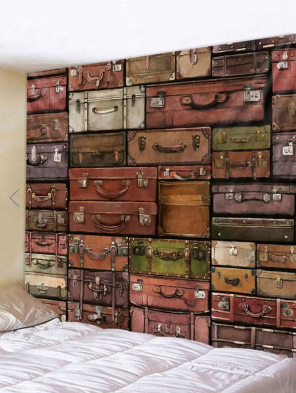Fabric Wall Tapestry/Throw Retro Luggage 90 x 70 Inches Free P+P