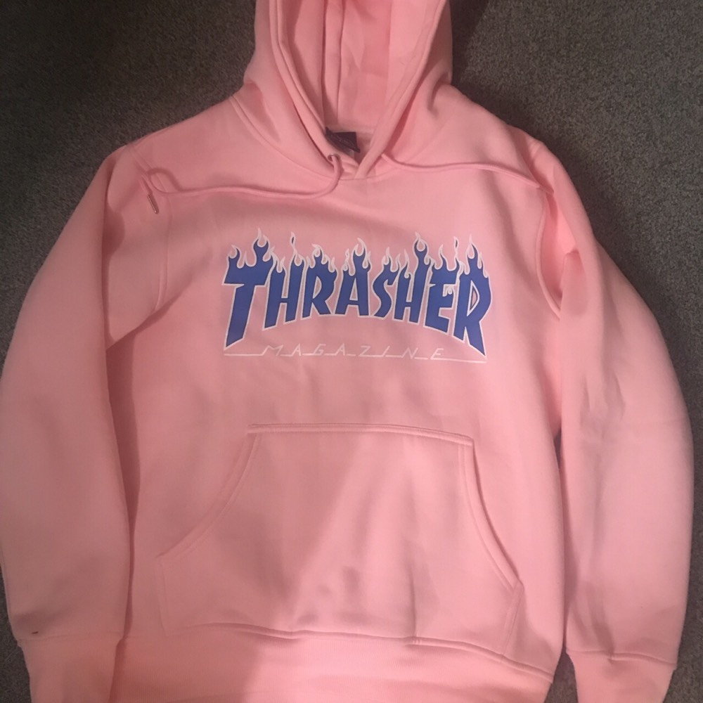 fd6deb1dcea0 Cheap Baby Pink Thrasher Flame Hoodie for sale . Paperclip