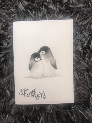 Watercoloured Penguin card, personalised