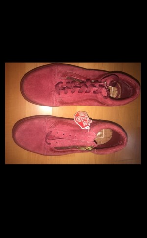 new red suede vans with gold zip. size 5.5