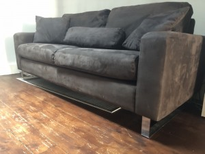 Brown 3 seater suede sofa