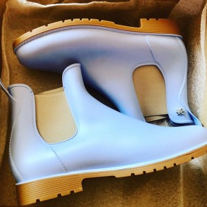 French Meduse Ladies Pale Baby Blue Pastel Crepe Chelsea Jump Ankle Bo
