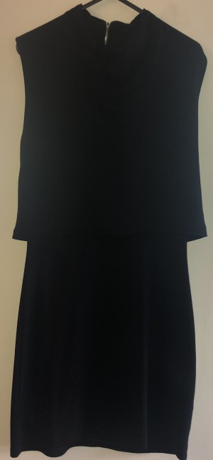 A black overlapped french connection dress