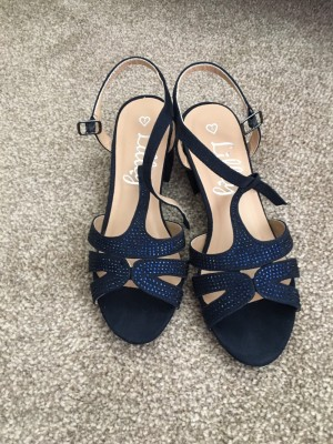Lilley navy diamanté heels size 4