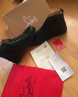 christian louboutin black spikes sneakers