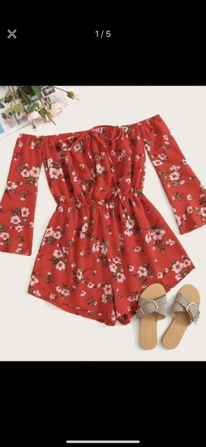 Brand new Red SHEIN floral playsuit size s