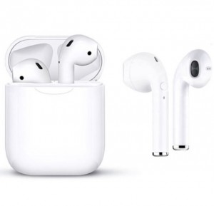 White Wireless Apple & Android Compatible Earbuds & Charge Case - 5