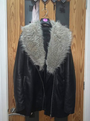 New Look faux leather coat size 8
