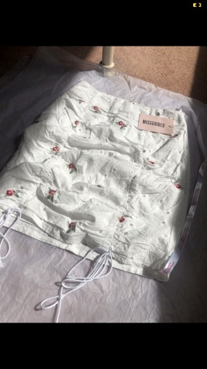 missguided white floral skirt
