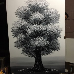 Large custom-made black & white painting