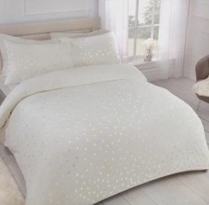 Comfy Fleece Foil Dots Duvet Set