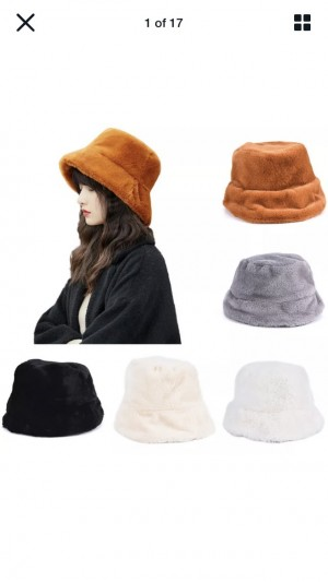 Hipster Bucket Hat Beige Fluffy Warm Faux Fur Winter Retro Fashion Cas