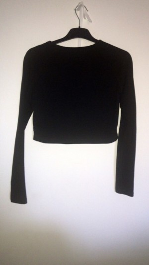 REAL ADIDAS BLACK LONG SLEEVE CROP TOP, SIZE 12