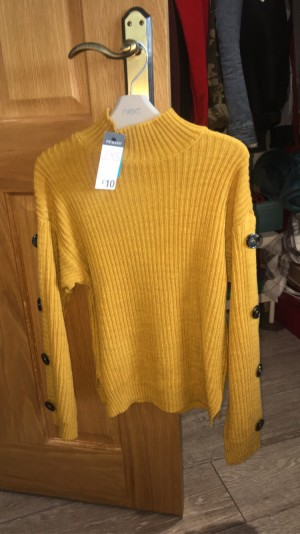mustard yellow, knitted jumper from primark, size xs