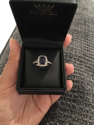 18k white gold 18k diamond setting precious sapphire Gem Stone ring