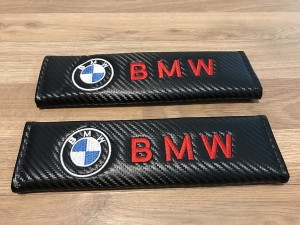 2X Seat Belt Pads Carbon Gifts BMW 1 2 3 4 5 6 7 Series M X Z I3 8 Alp