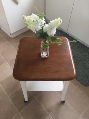 Cute wooden table on wheels