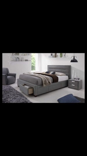 King size grey bed