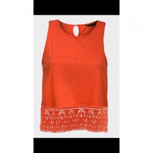 Orange lace bottom vest top