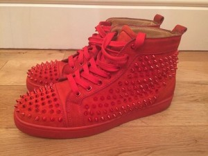 Louboutin cherry red spike sneakers size 7.5