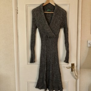 Grey United Colors of Benetton Knit Ribbed Cross Over Jumper Dress S-M