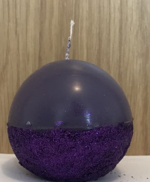 Purple and glitter round scented ball candle