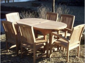 1.6M Teak Oval Table With 6 Marley Chairs