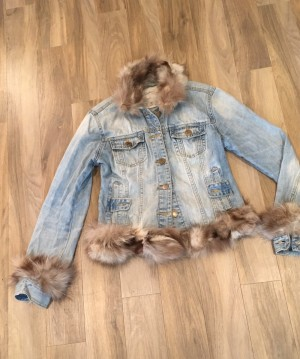 Fur trimmed denim jacket