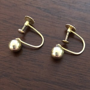 Antique 9ct Solid Yellow Gold Ball Screw Back Earrings Pre WW2