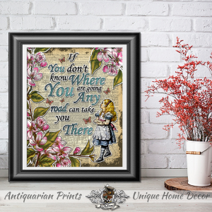 Alice in Wonderland Art Print on Real Antique Dictionary Book Page, Wall Decor, Home Decor