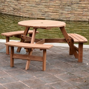 Six seater wooden bench