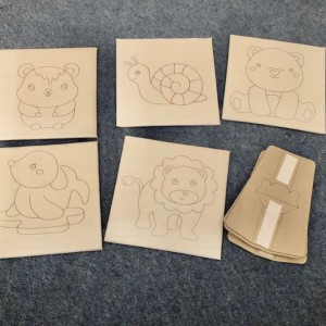 Pack of 5 Small Painting Craft Assorted Outlined With Cardboard Stand