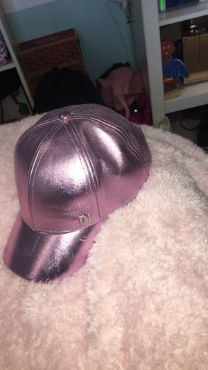 shiny pink baseball cap, from river island