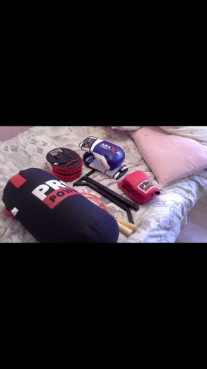 Boxing bag with pads and gloves