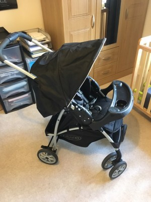 Graco mirage pushchair. One hand folding, suitable from birth. Great condition, scratches to the tray as it hits the floor when you fold it up. Will fit graco baby carriers .