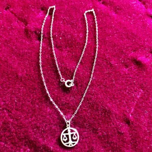 Antique Argentium 935 Silver Scale Justice Libra Pendant And Sterling