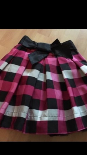 M&S black pink check skirt 9 y