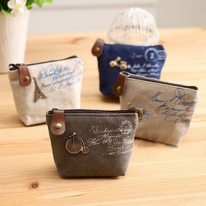 Set of 4 French style vintage canvas purses