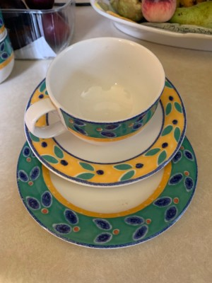 cup, saucer and side plate