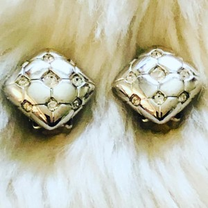 Y2K Silver Tone Square Pillow Rhinestones Clip On Earrings Holiday Dre