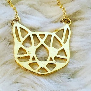 Cute Gold Tone Cat Face Vector Pendant Necklace Party Costume Holiday