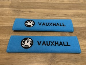 2X Seat Belt Pads Cotton Blue Gifts Vauxhall Astra Vectra Corsa Insign