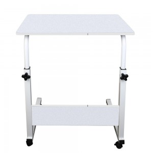 Movable Lifting Adjustable Bedside Computer Table Portable - White