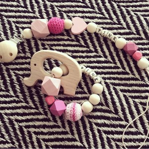 Baby girl personalised handmade Natural Wood Dummy Clip and teether gift set baby shower arrival of baby christening etc