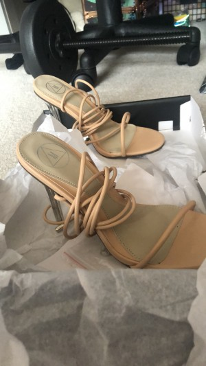 Size 4, Missguided nude lace up heels