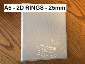 A5 White Presentation Ring Binder 2x 'D' Rings 25mm Folder