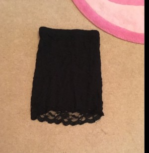boohoo black lace body con skirt