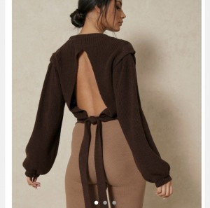 misspap chocolate brown open back knit jumper size 6 8 10